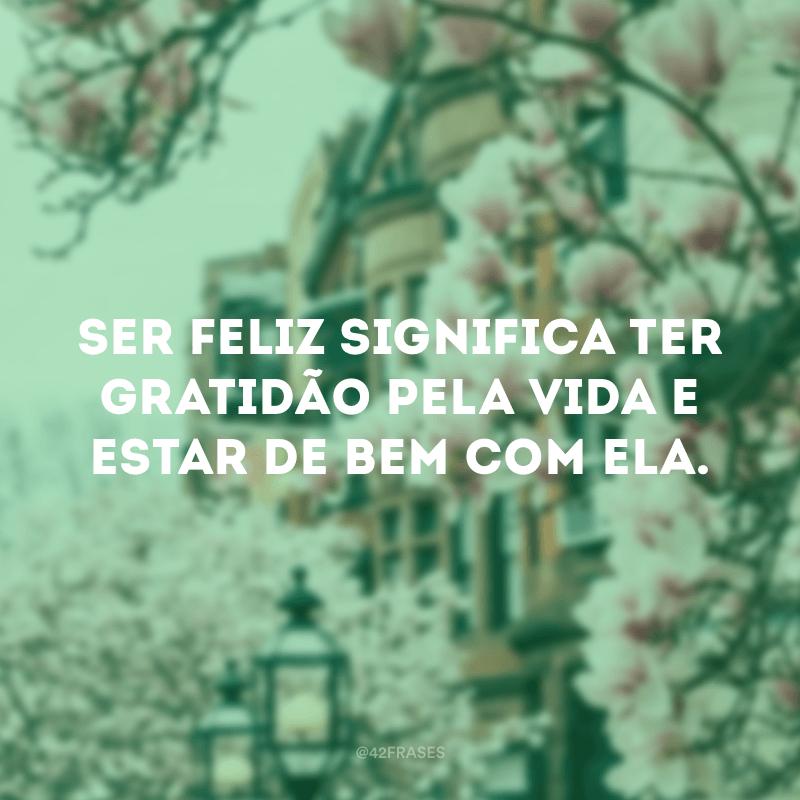 Ser feliz significa ter gratidão pela vida e estar de bem com ela.