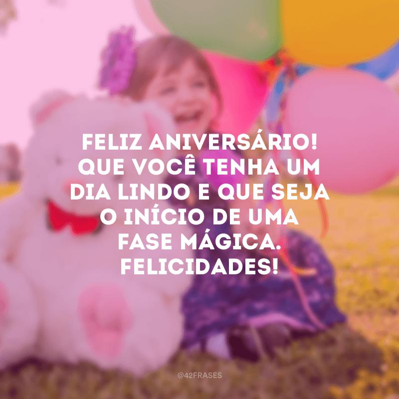 Feliz aniversário! Que você tenha um dia lindo e que seja o início de uma fase mágica. Felicidades!