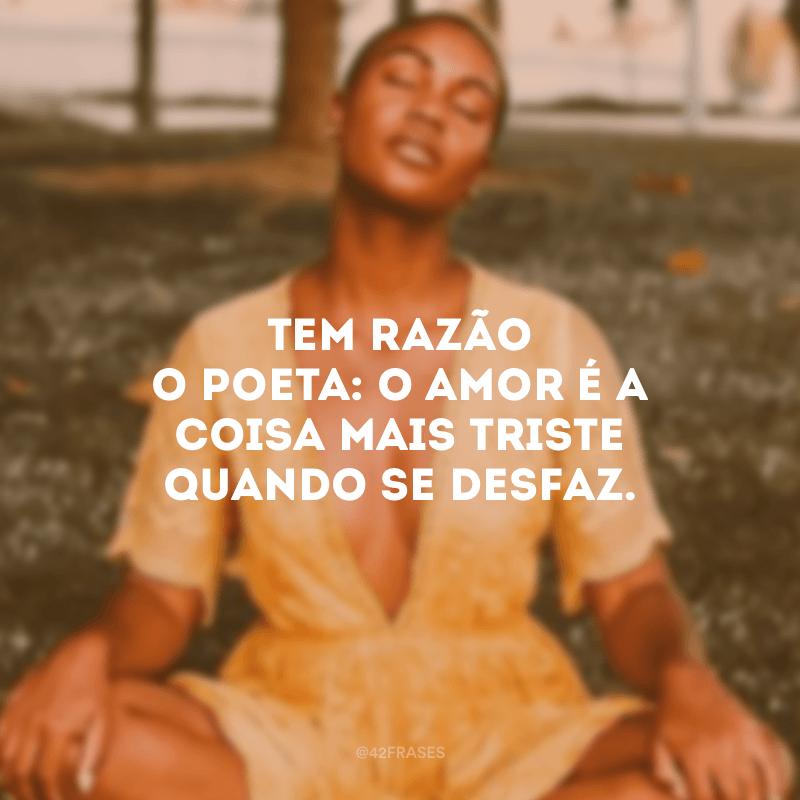 Tem razão o poeta: o amor é a coisa mais triste quando se desfaz.