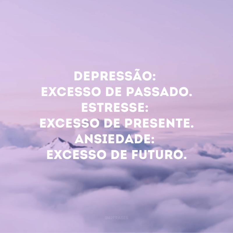 Depressão: excesso de passado. Estresse: excesso de presente. Ansiedade: excesso de futuro.