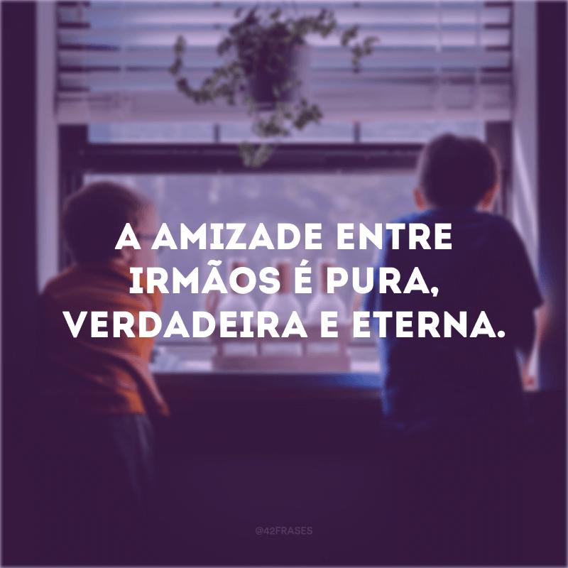 A amizade entre irmãos é pura, verdadeira e eterna.