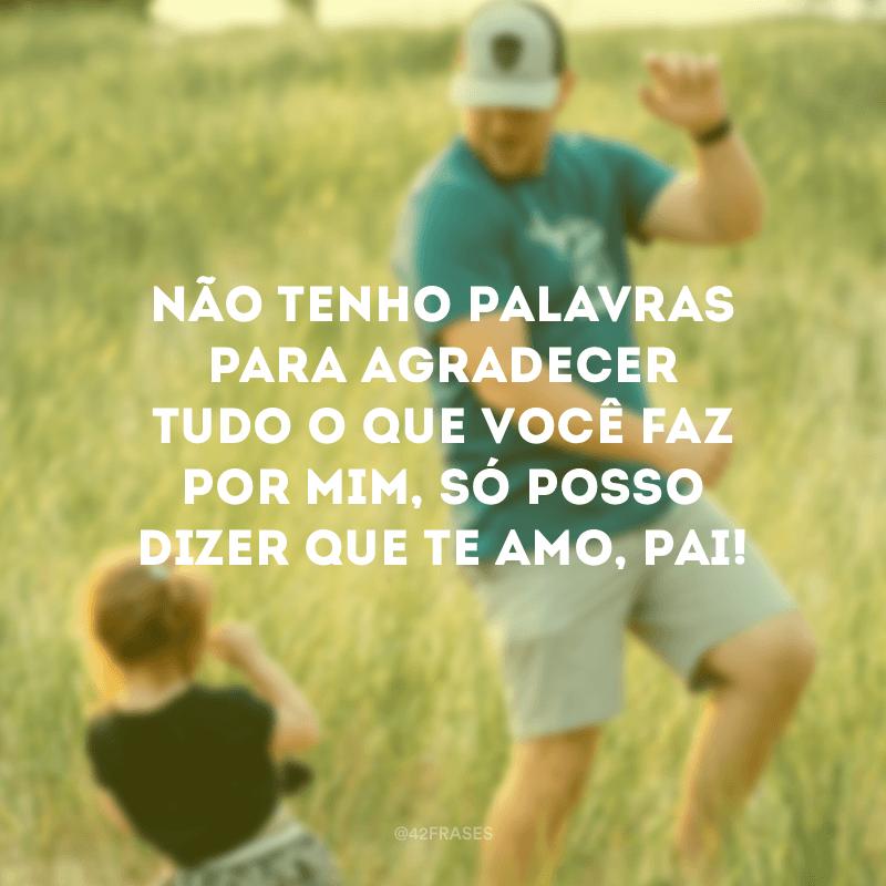 Não tenho palavras para agradecer tudo o que você faz por mim, só posso dizer que te amo, pai!
