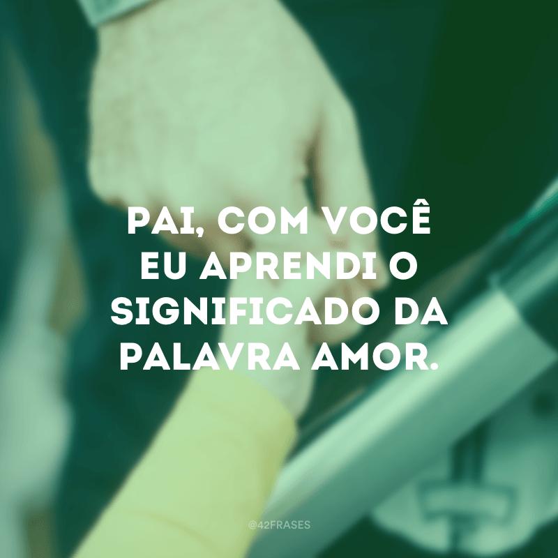Pai, com você eu aprendi o significado da palavra amor.