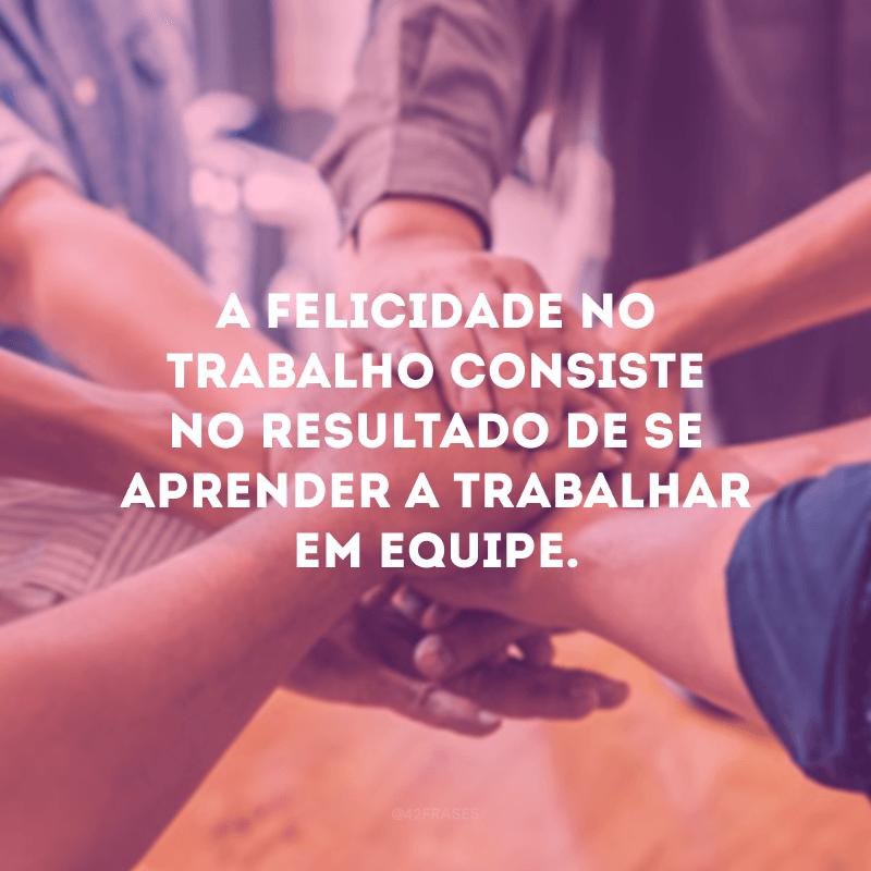 A felicidade no trabalho consiste no resultado de se aprender a trabalhar em equipe.