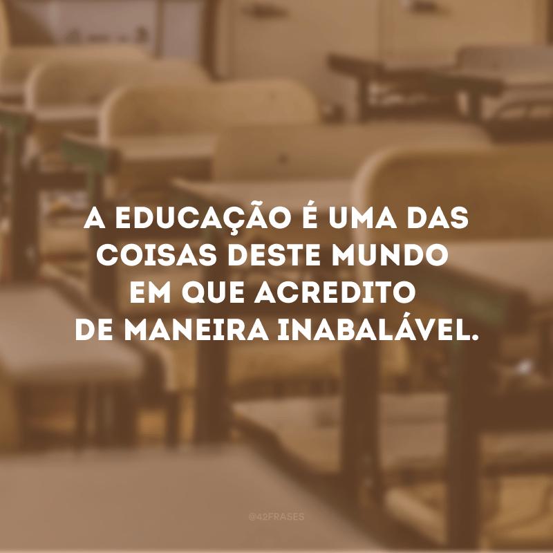A educação é uma das coisas deste mundo em que acredito de maneira inabalável.