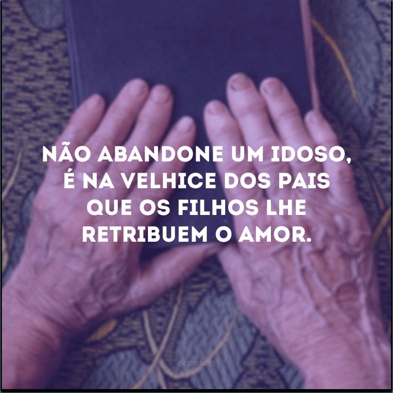 Não abandone um idoso, é na velhice dos pais que os filhos lhe retribuem o amor.