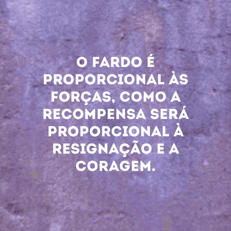 O fardo é proporcional às forças, como a recompensa será proporcional à resignação e a coragem.