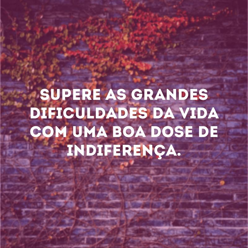 Supere as grandes dificuldades da vida com uma boa dose de indiferença.