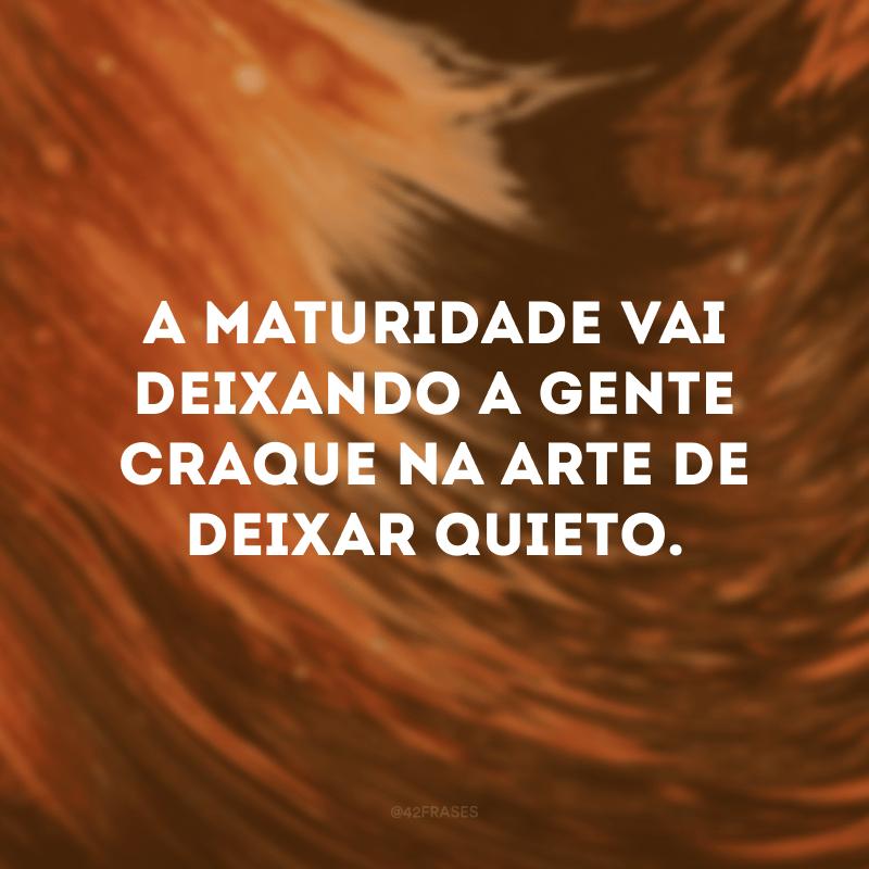 A maturidade vai deixando a gente craque na arte de deixar quieto.
