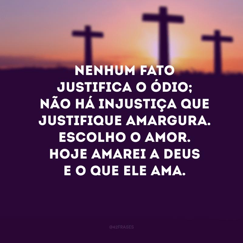 Nenhum fato justifica o ódio; não há injustiça que justifique amargura. Escolho o amor. Hoje amarei a Deus e o que Ele ama.
