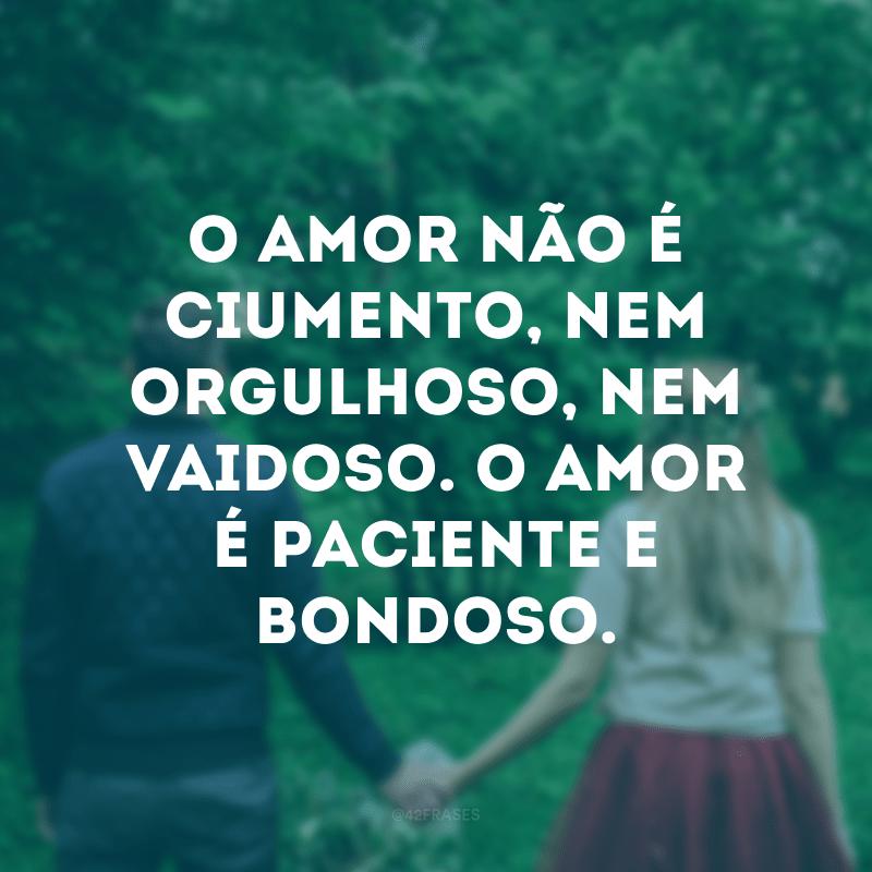 O amor não é ciumento, nem orgulhoso, nem vaidoso. O amor é paciente e bondoso.