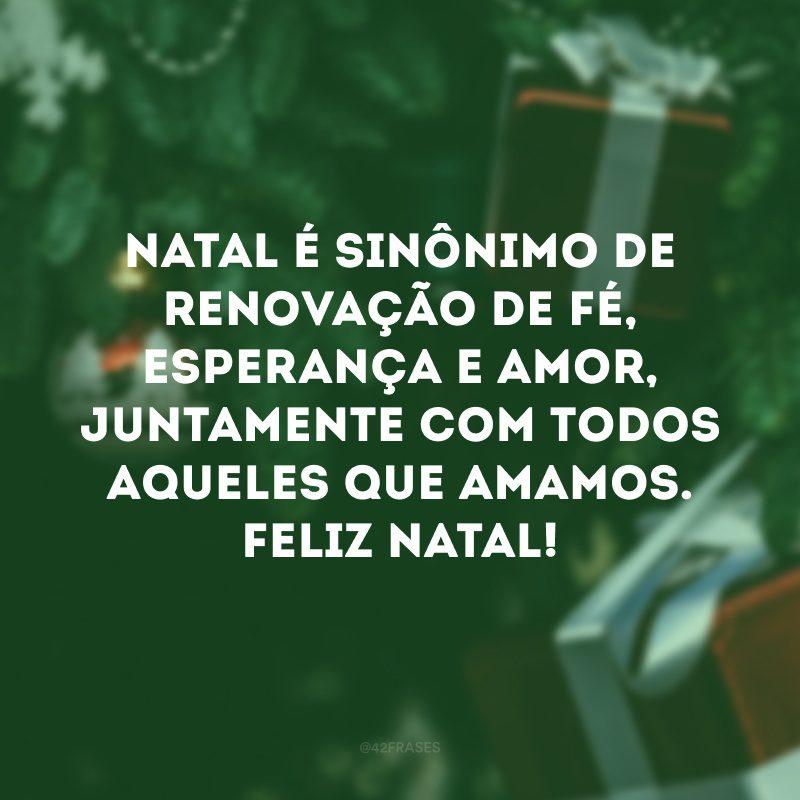 Natal é sinônimo de renovação de fé, esperança e amor, juntamente com todos aqueles que amamos. Feliz Natal!