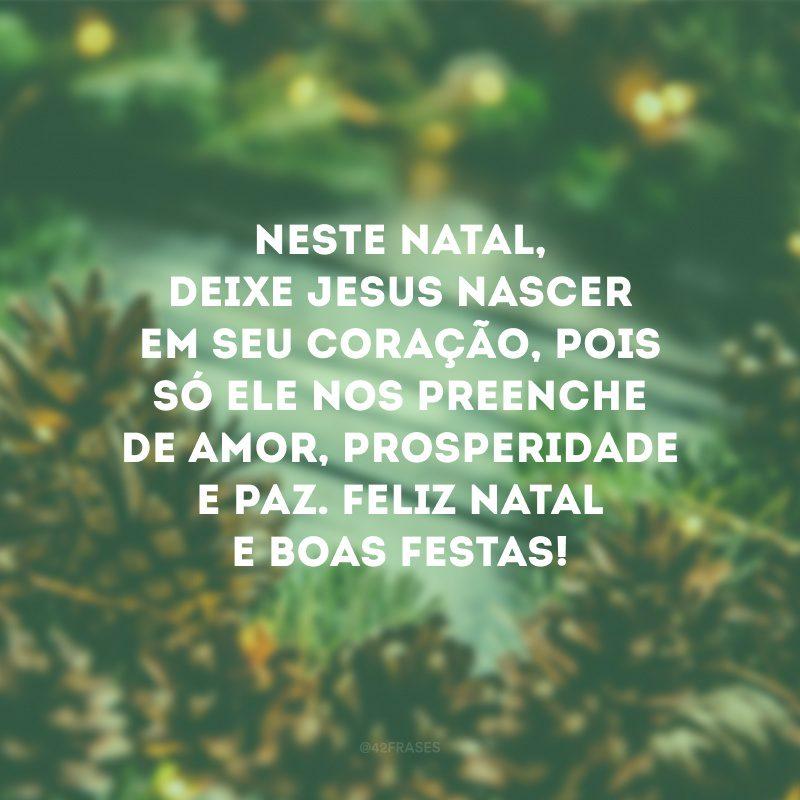 Neste Natal, deixe Jesus nascer em seu coração, pois só ele nos preenche de amor, prosperidade e paz. Feliz Natal e Boas Festas!
