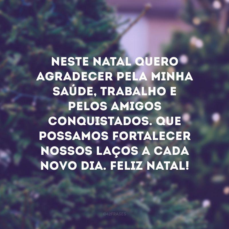 Neste Natal quero agradecer pela minha saúde, trabalho e pelos amigos conquistados. Que possamos fortalecer nossos laços a cada novo dia. Feliz Natal!