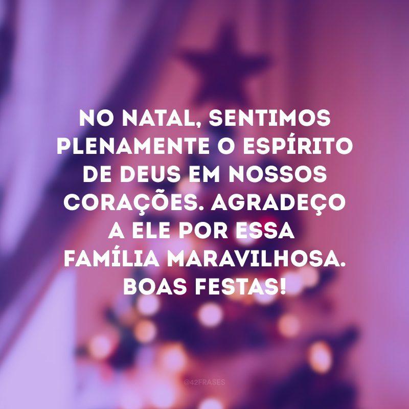 No Natal, sentimos plenamente o espírito de Deus em nossos corações. Agradeço a Ele por essa família maravilhosa. Boas festas!