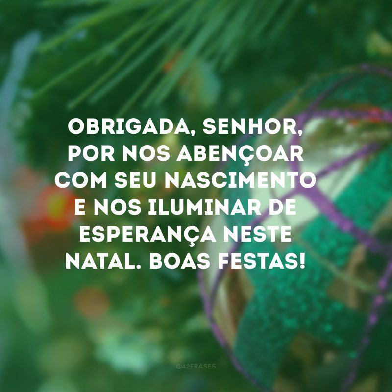 Obrigada, Senhor, por nos abençoar com seu nascimento e nos iluminar de esperança neste Natal. Boas Festas!