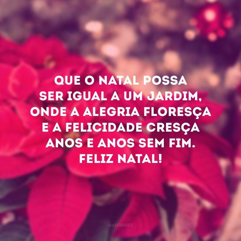 Que o Natal possa ser igual a um jardim, onde a alegria floresça e a felicidade cresça anos e anos sem fim. Feliz Natal!