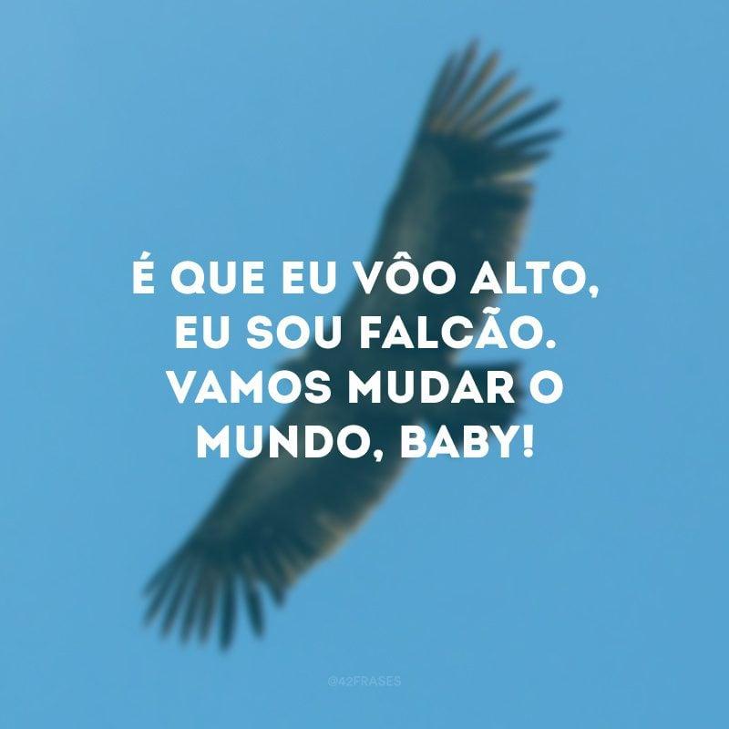 É que eu vôo alto, eu sou falcão. Vamos mudar o mundo, baby!