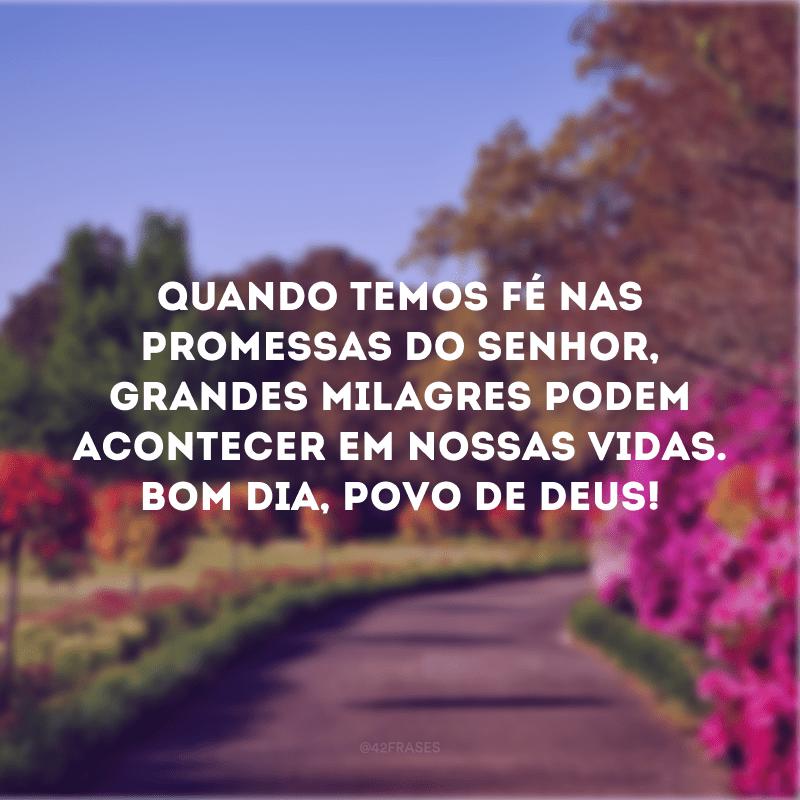 Quando temos fé nas promessas do Senhor, grandes milagres podem acontecer em nossas vidas. Bom dia, povo de Deus!