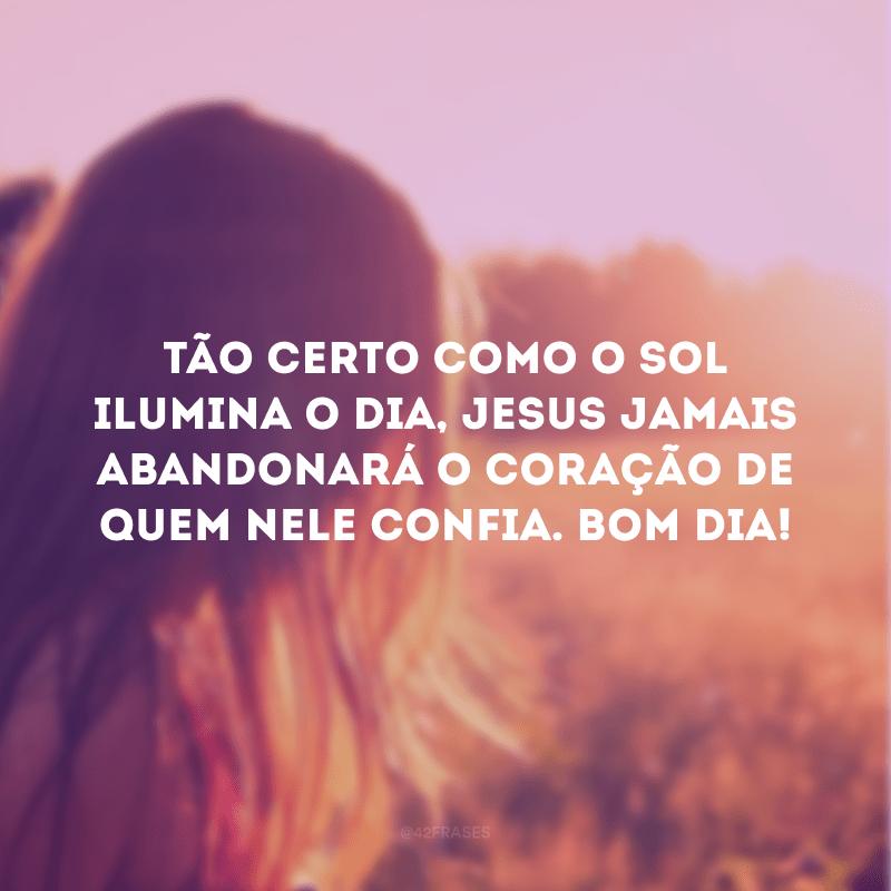 Tão certo como o sol ilumina o dia, Jesus jamais abandonará o coração de quem nele confia. Bom dia!