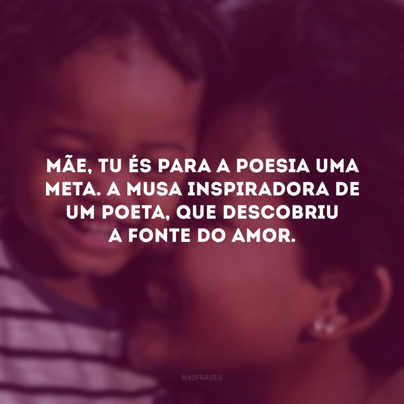 Mãe, tu és para a poesia uma meta. A musa inspiradora de um poeta, que descobriu a fonte do amor.