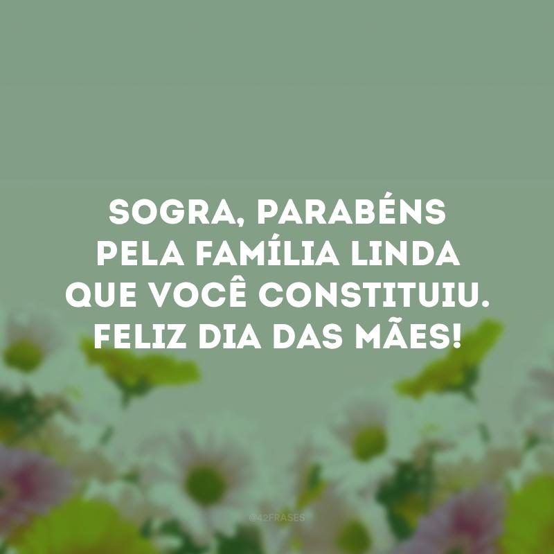 Sogra, parabéns pela família linda que você constituiu. Feliz Dia das Mães!