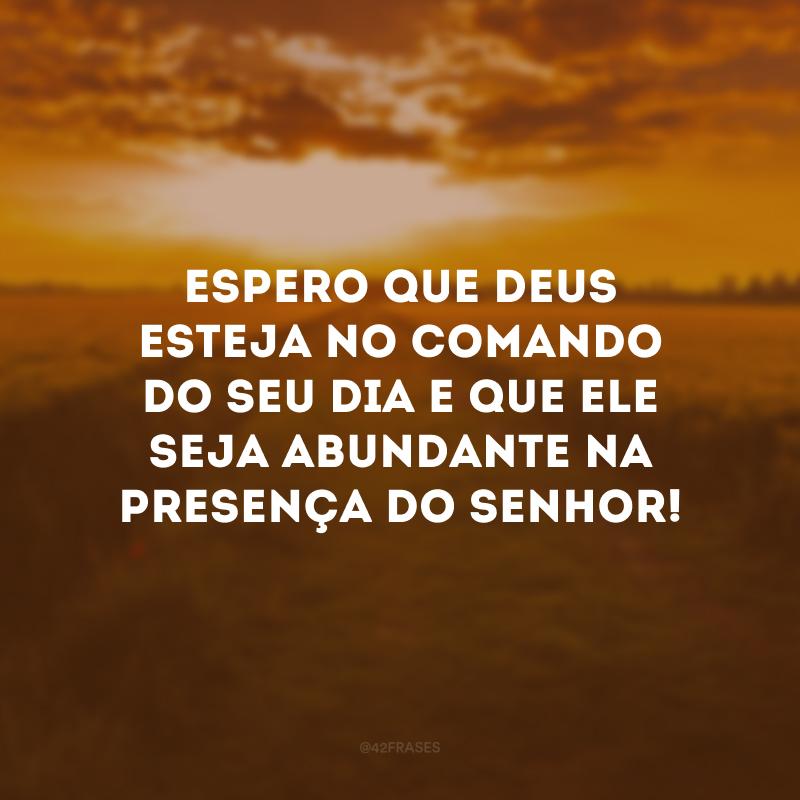 Espero que Deus esteja no comando do seu dia e que ele seja abundante na presença do Senhor!