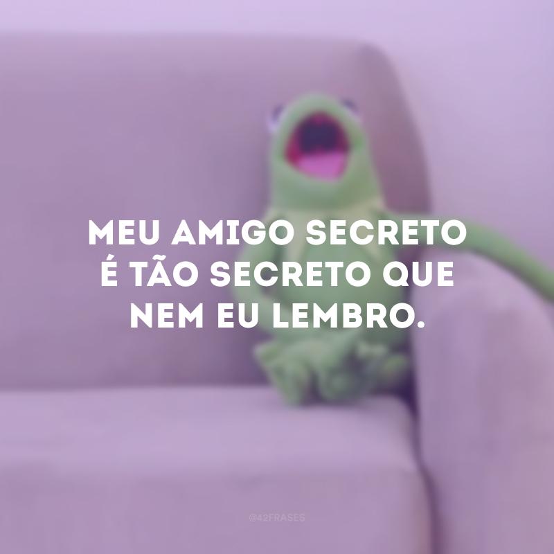 Meu amigo secreto é tão secreto que nem eu lembro.