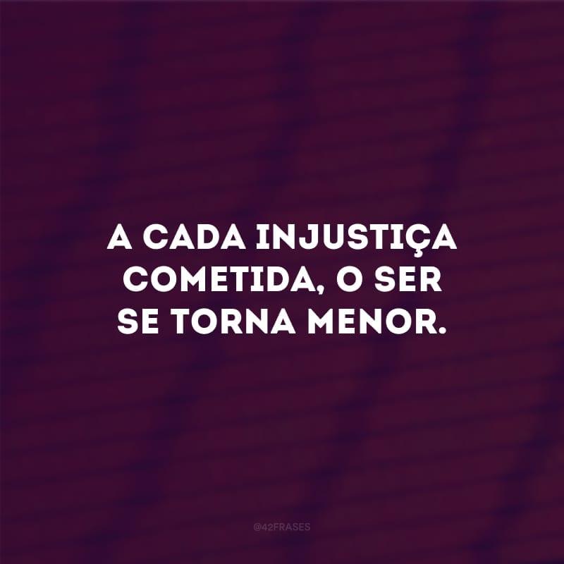 A cada injustiça cometida, o ser se torna menor.