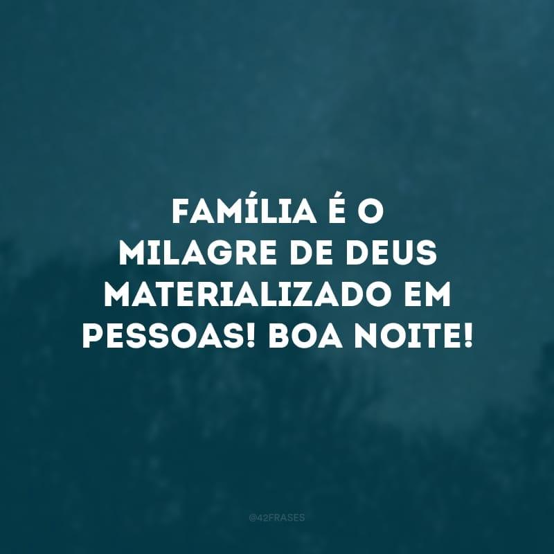 Família é o milagre de Deus materializado em pessoas! Boa noite!