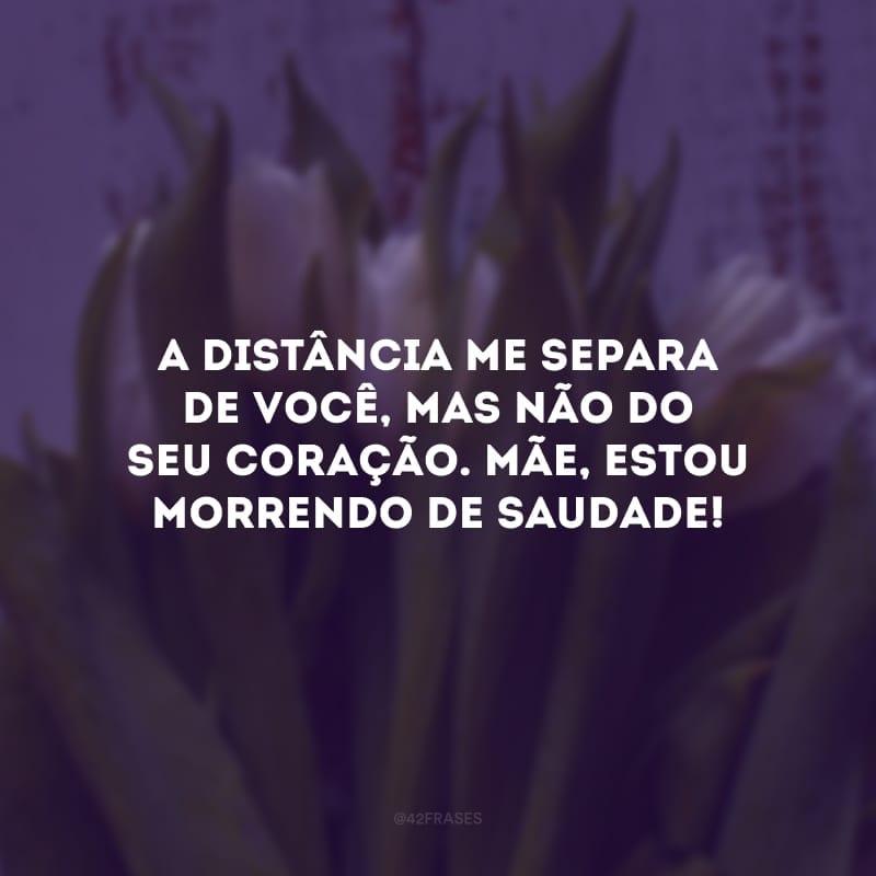 A distância me separa de você, mas não do seu coração. Mãe, estou morrendo de saudade!