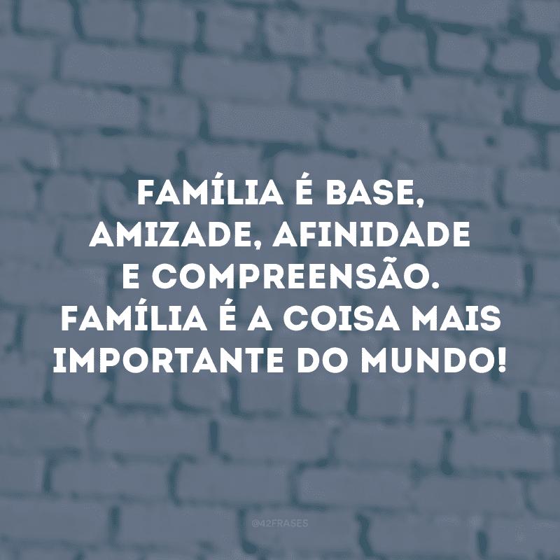 Família é base, amizade, afinidade e compreensão. Família é a coisa mais importante do mundo!