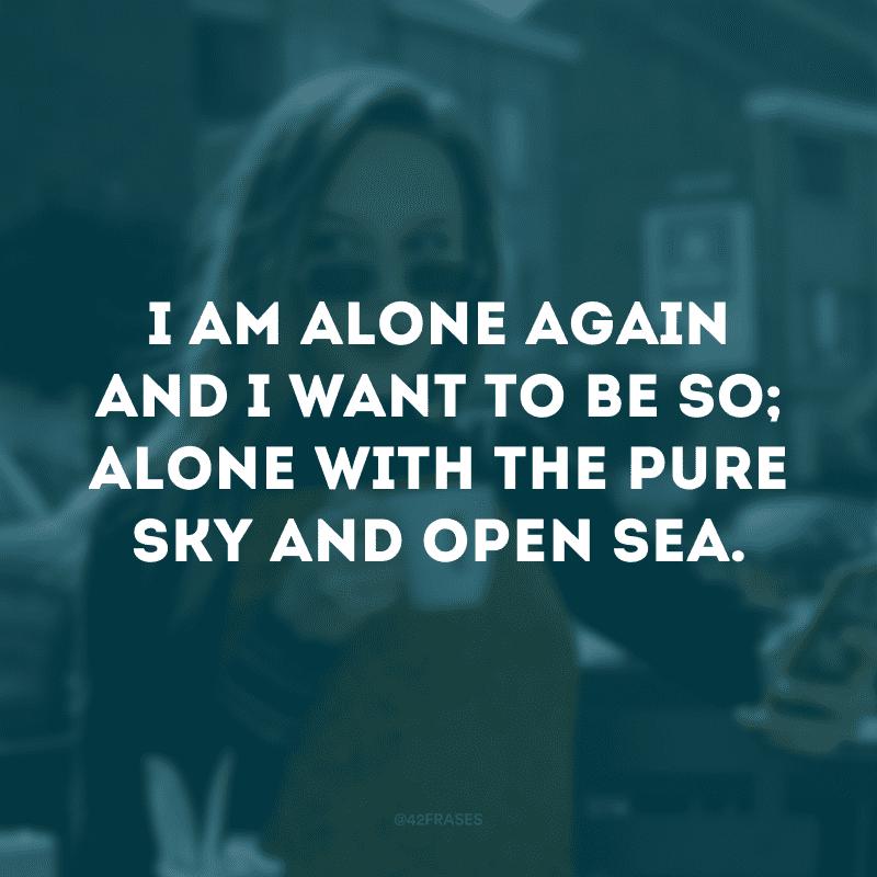 I am alone again and I want to be so; alone with the pure sky and open sea. (Estou sozinho de novo e quero estar assim; sozinho com o céu puro e mar aberto)