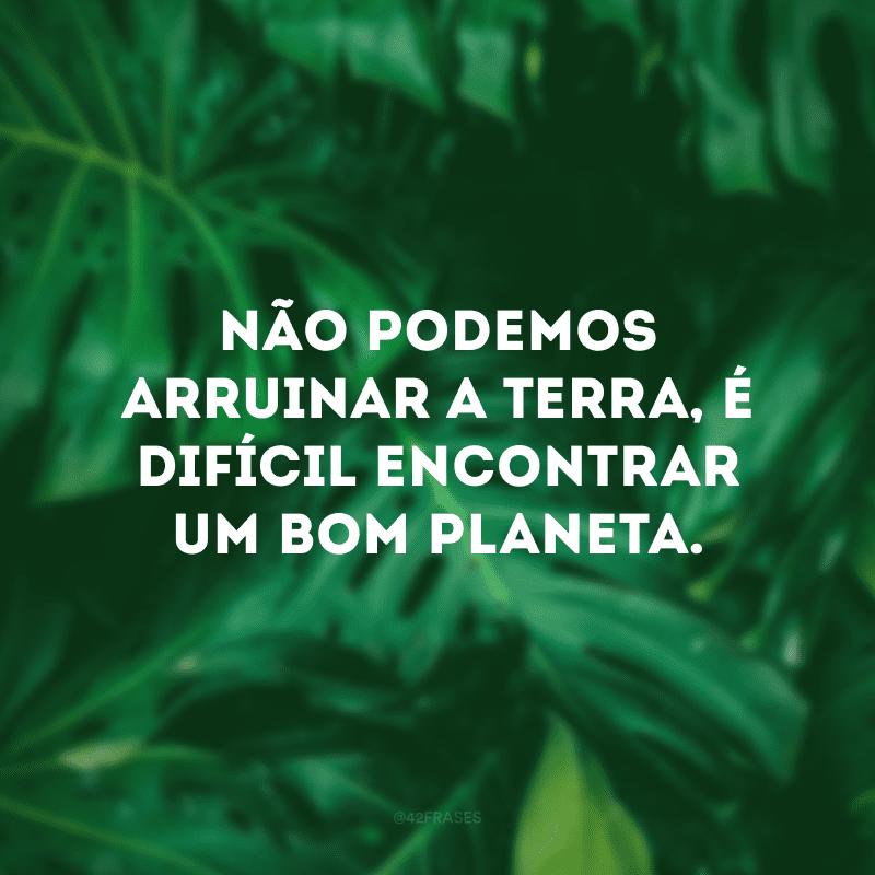 Não podemos arruinar a Terra, é difícil encontrar um bom planeta.