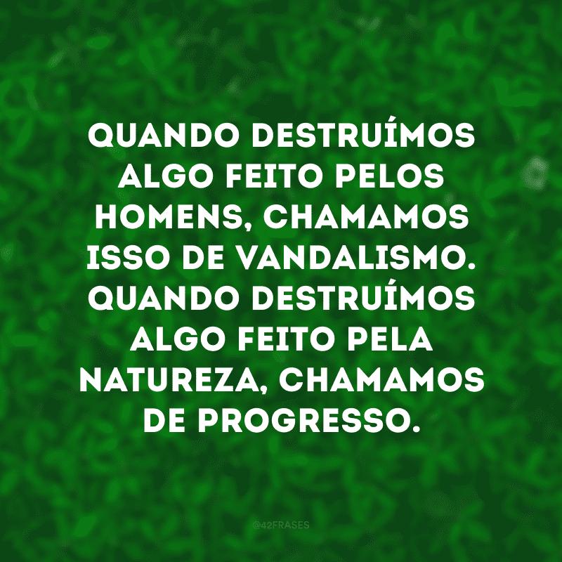Quando destruímos algo feito pelos homens, chamamos isso de vandalismo. Quando destruímos algo feito pela natureza, chamamos de progresso.