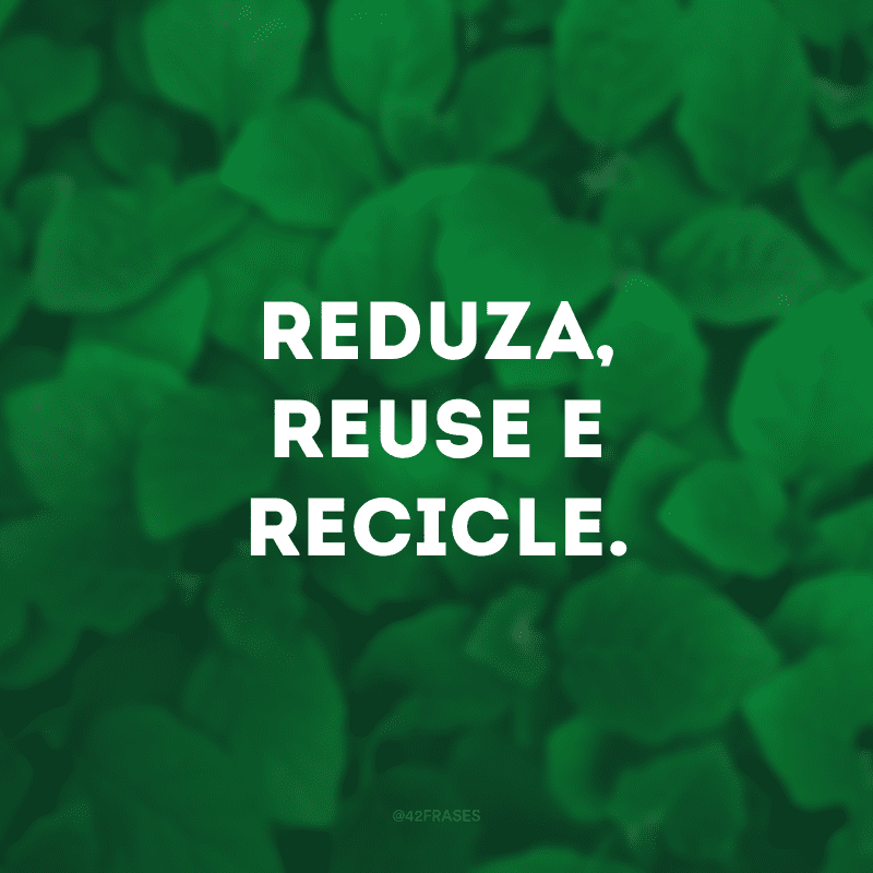 Reduza, reuse e recicle.