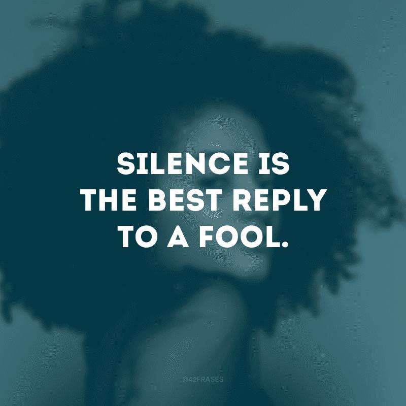 Silence is the best reply to a fool. (O silêncio é a melhor resposta para um tolo)
