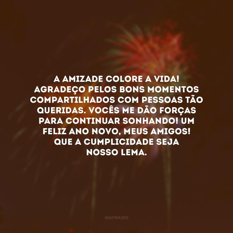 A amizade colore a vida! Agradeço pelos bons momentos compartilhados com pessoas tão queridas. Vocês me dão forças para continuar sonhando! Um feliz Ano Novo, meus amigos! Que a cumplicidade seja nosso lema.