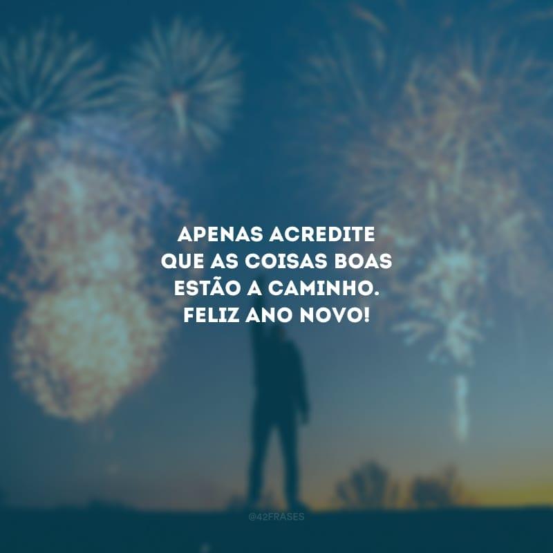 Apenas acredite que as coisas boas estão a caminho. Feliz Ano Novo!