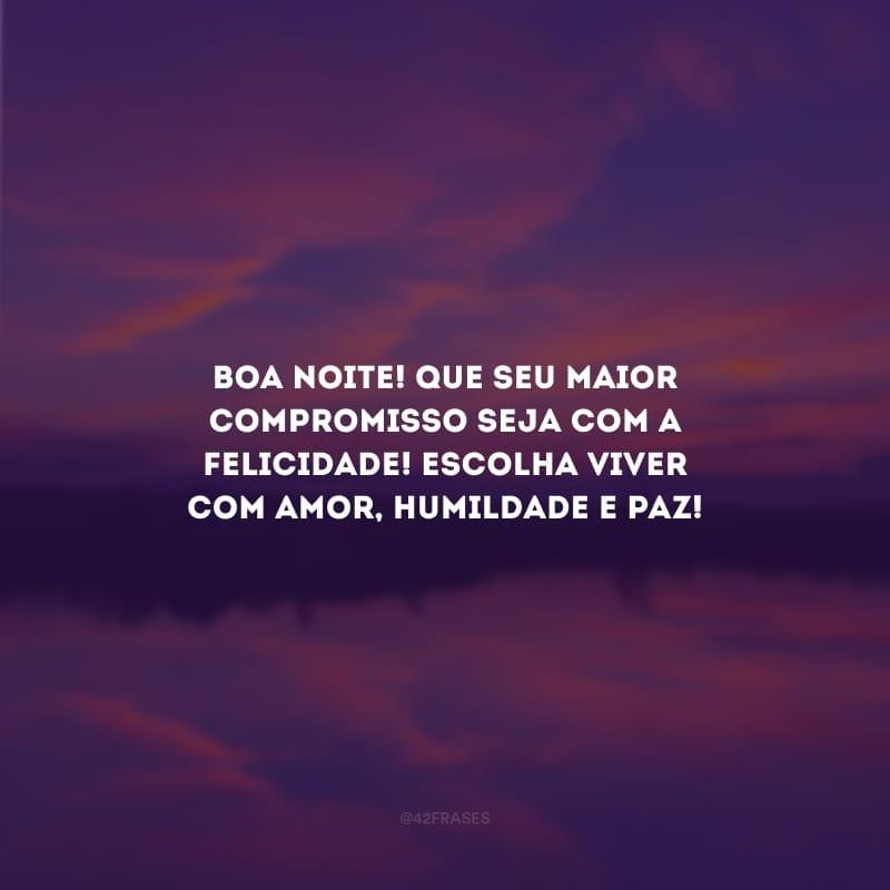 Boa noite! Que seu maior compromisso seja com a felicidade! Escolha viver com amor, humildade e paz!