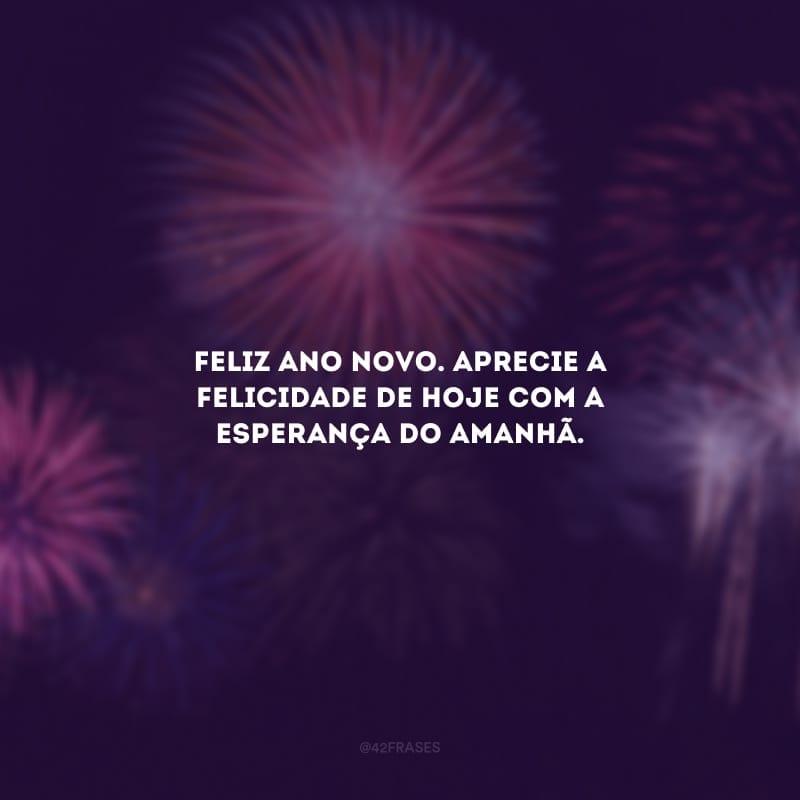 Feliz Ano Novo. Aprecie a felicidade de hoje com a esperança do amanhã.