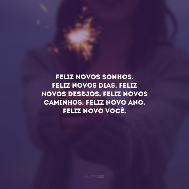 Feliz novos sonhos. Feliz novos dias. Feliz novos desejos. Feliz novos caminhos. Feliz Novo Ano. Feliz novo você.