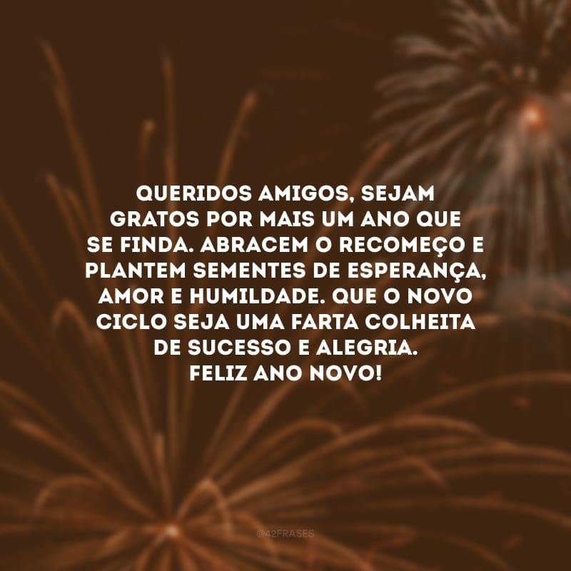 Queridos amigos, sejam gratos por mais um ano que se finda. Abracem o recomeço e plantem sementes de esperança, amor e humildade. Que o novo ciclo seja uma farta colheita de sucesso e alegria. Feliz Ano Novo!