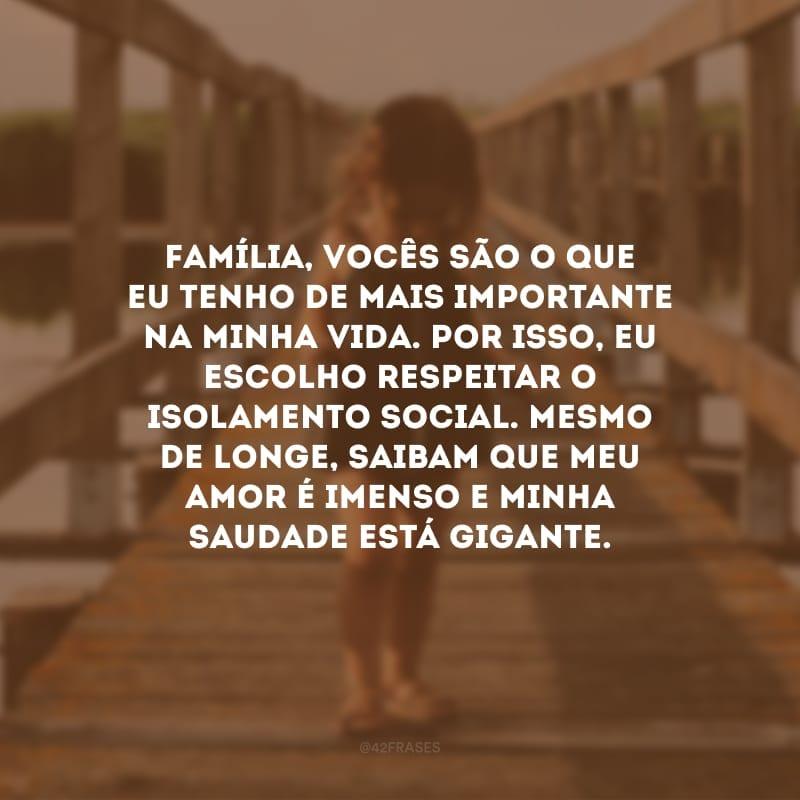 Família, vocês são o que eu tenho de mais importante na minha vida. Por isso, eu escolho respeitar o isolamento social. Mesmo de longe, saibam que meu amor é imenso e minha saudade está gigante.