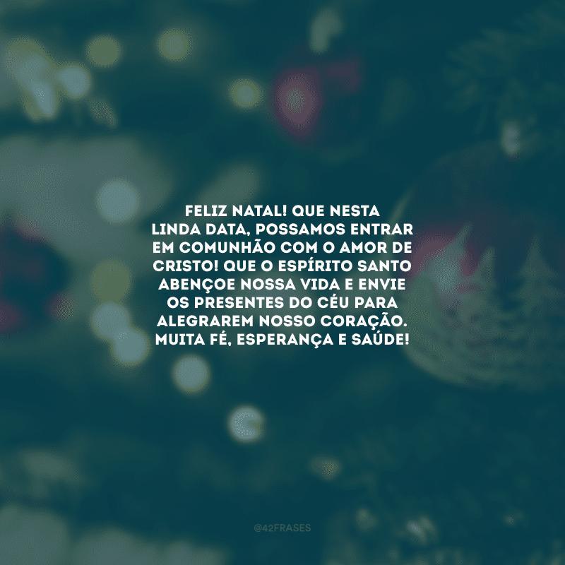 Feliz Natal! Que nesta linda data, possamos entrar em comunhão com o amor de Cristo! Que o Espírito Santo abençoe nossa vida e envie os presentes do Céu para alegrarem nosso coração. Muita fé, esperança e saúde!