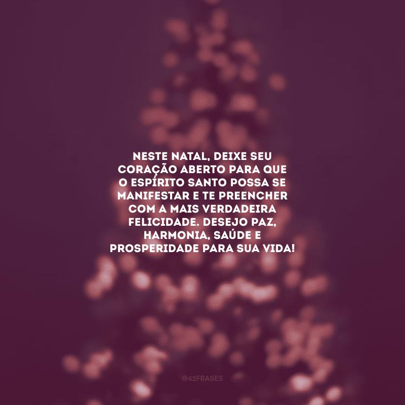 Neste Natal, deixe seu coração aberto para que o Espírito Santo possa se manifestar e te preencher com a mais verdadeira felicidade. Desejo paz, harmonia, saúde e prosperidade para sua vida!