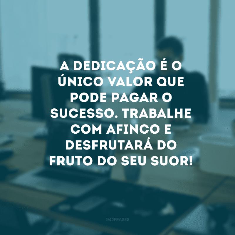 A dedicação é o único valor que pode pagar o sucesso. Trabalhe com afinco e desfrutará do fruto do seu suor!