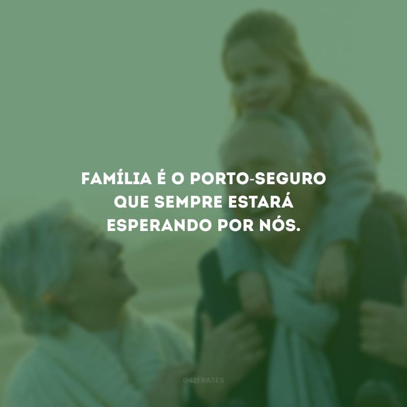 Família é o porto-seguro que sempre estará esperando por nós.
