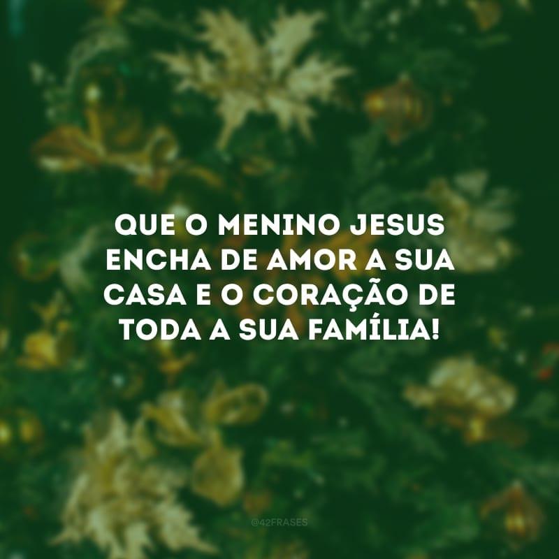 Que o menino Jesus encha de amor a sua casa e o coração de toda a sua família!