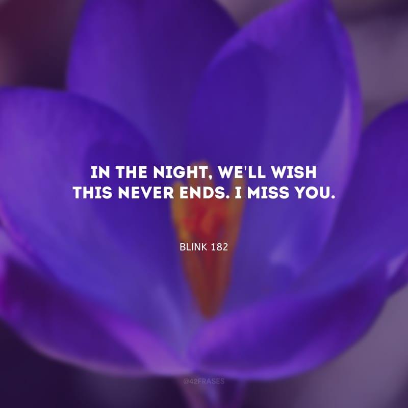 In the night, we\'ll wish this never ends. I miss you. (Na noite, nós vamos desejar que isso nunca termine. Eu sinto sua falta.)